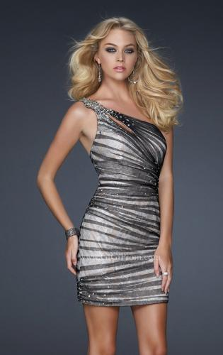 Picture of: One Shoulder Cocktail Dress with Beaded Waist Detail, Style: 17365, Main Picture