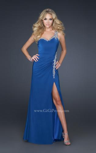 Picture of: Form Fitting Long Jersey Gown with Front Slit and Beads, Style: 17366, Main Picture