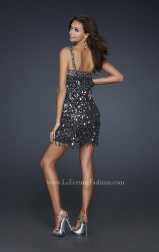 Picture of: Short Sequined Cocktail Dress with Straight Cut Neck, Style: 17370, Back Picture