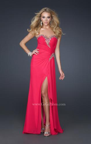 Picture of: Chiffon Prom Dress with Accent Beading and Side Slit, Style: 17380, Main Picture