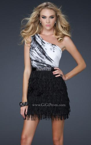 Picture of: One Shoulder Satin Top with Beaded Satin Waistband, Style: 17410, Main Picture