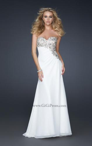 Picture of: Strapless Chiffon Prom Gown with Gathering and Beads, Style: 17424, Main Picture