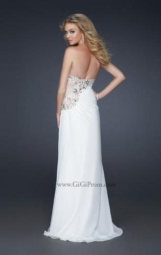 Picture of: Strapless Chiffon Prom Gown with Gathering and Beads, Style: 17424, Back Picture