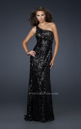 Picture of: Long One Shoulder Prom Dress that is Fully Sequined, Style: 17483, Back Picture