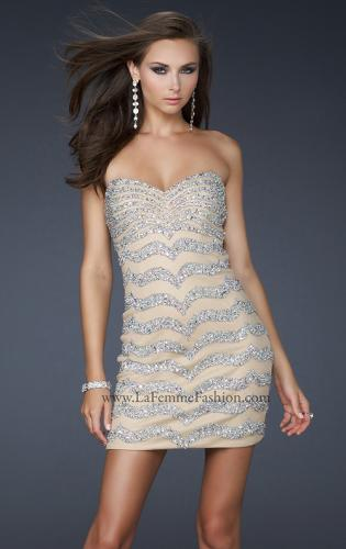 Picture of: Net Strapless Prom Dress with Accent Beading, Style: 17493, Main Picture