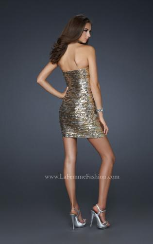Picture of: Strapless Cocktail Dress with Gold and Silver Sequins, Style: 17496, Back Picture