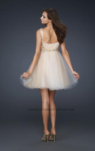 Picture of: Goddess Inspired Short Dress with Embellished Shoulders, Style: 17500, Back Picture