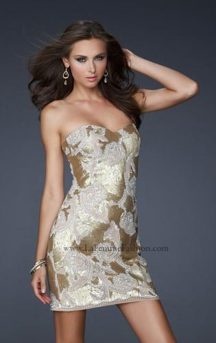 Picture of: Sequined Lace Strapless Dress with Sweetheart Neck, Style: 17517, Detail Picture 1