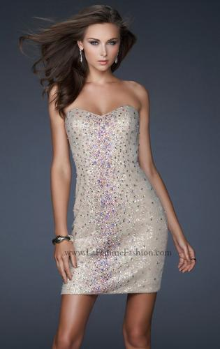 Picture of: Strapless Sequin Cocktail Dress with Beaded Detail, Style: 17522, Main Picture