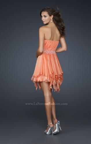 Picture of: Chiffon Cocktail Dress with Beaded Waist and Ruffles, Style: 17544, Back Picture
