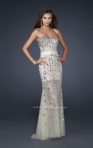 Picture of: Sheer Beaded Prom Dress with Sweetheart Neckline, Style: 17603, Detail Picture 1