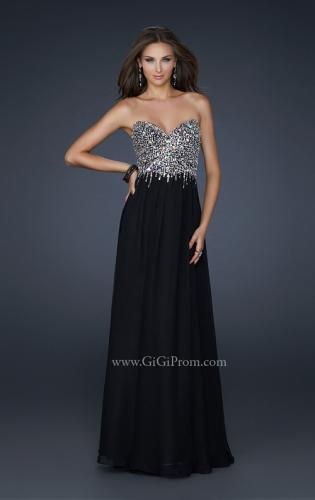 Picture of: Full Length Chiffon Gown with Detailed Beaded Bust, Style: 17612, Main Picture