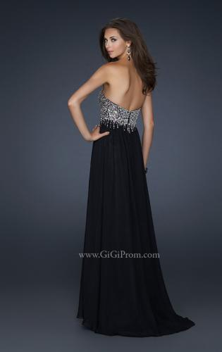 Picture of: Full Length Chiffon Gown with Detailed Beaded Bust, Style: 17612, Back Picture