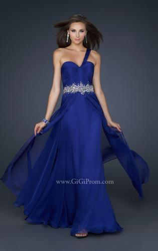 Picture of: Full Length Chiffon Gown with Embellished Waist Band, Style: 17613, Main Picture