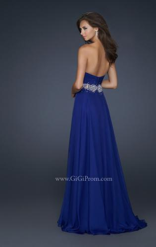 Picture of: Full Length Chiffon Gown with Embellished Waist Band, Style: 17613, Back Picture