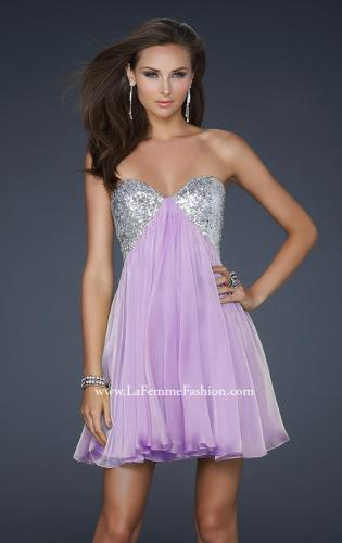 Picture of: Strapless Chiffon Gown with Open Back and Beads, Style: 17649, Main Picture