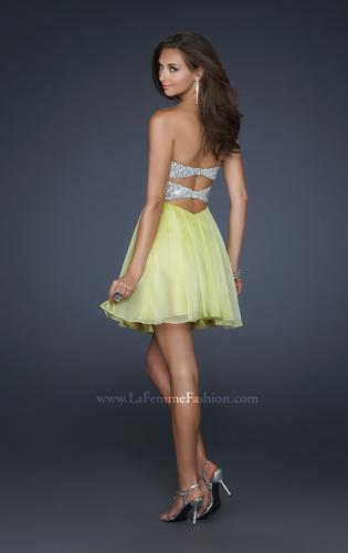 Picture of: Strapless Chiffon Gown with Open Back and Beads, Style: 17649, Back Picture