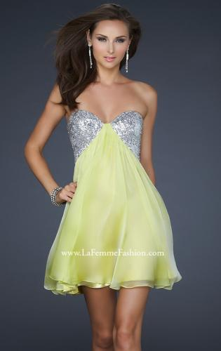 Picture of: Strapless Chiffon Gown with Open Back and Beads, Style: 17649, Detail Picture 2