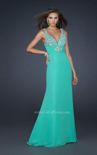 Picture of: Form Fitting Chiffon V Neck Dress with Beaded Bust, Style: 17665, Main Picture
