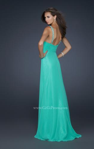 Picture of: Form Fitting Chiffon V Neck Dress with Beaded Bust, Style: 17665, Back Picture