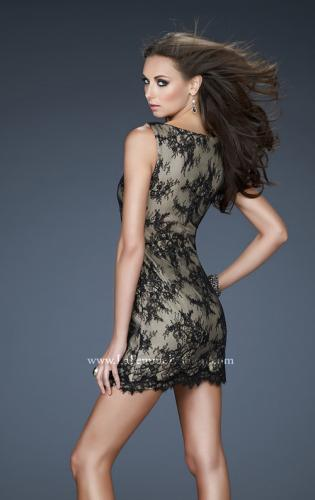 Picture of: V Neck Lace Cocktail Dress with Scalloped Hem, Style: 17728, Back Picture