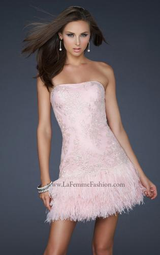 Picture of: Strapless Cocktail Dress with Layered Feathered Skirt, Style: 17801, Main Picture