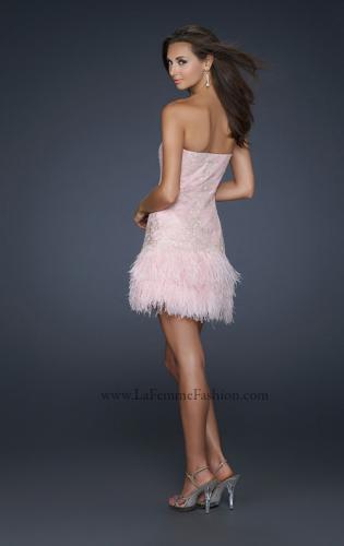 Picture of: Strapless Cocktail Dress with Layered Feathered Skirt, Style: 17801, Back Picture
