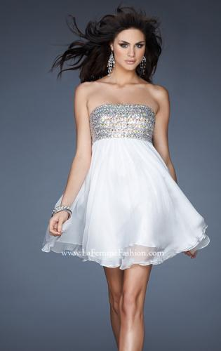 Picture of: Short Chiffon Cocktail Dress with Sequined and Beaded Bust, Style: 18063, Detail Picture 2