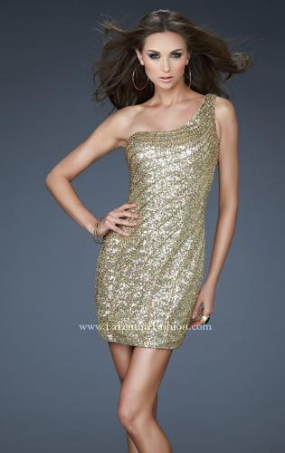 Picture of: One Shoulder Sequin Cocktail Dress with Rhinestones, Style: 18103, Main Picture