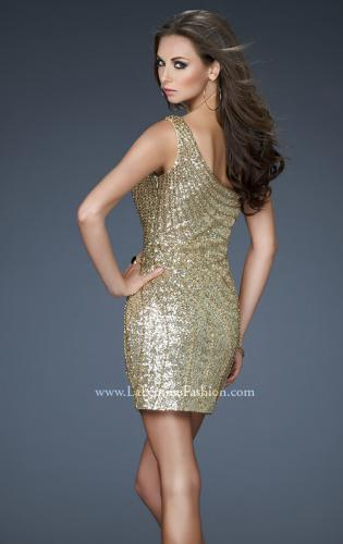 Picture of: One Shoulder Sequin Cocktail Dress with Rhinestones, Style: 18103, Back Picture