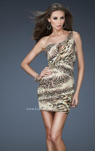 Picture of: Chic Animal Inspired One Shoulder Dress with Jewels, Style: 18133, Main Picture