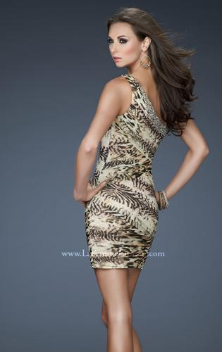 Picture of: Chic Animal Inspired One Shoulder Dress with Jewels, Style: 18133, Back Picture