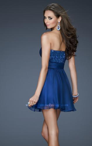 Picture of: Sequined Short Cocktail Dress with Full Chiffon Skirt, Style: 18162, Back Picture