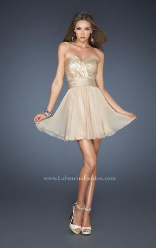 Picture of: Sequined Short Cocktail Dress with Full Chiffon Skirt, Style: 18162, Detail Picture 1