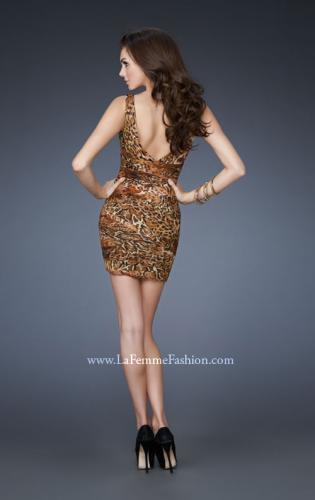 Picture of: Ruched Net Animal Print Mini Dress with V Neckline, Style: 18204, Back Picture