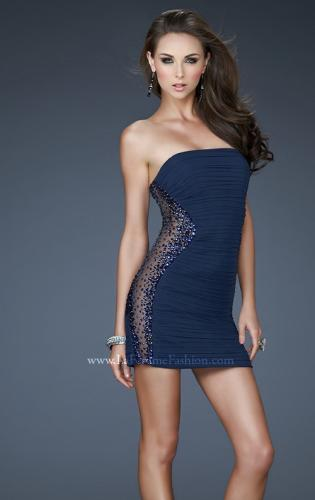 Picture of: Stretch Net Cocktail Dress with Illusion Side Panels, Style: 18232, Detail Picture 2