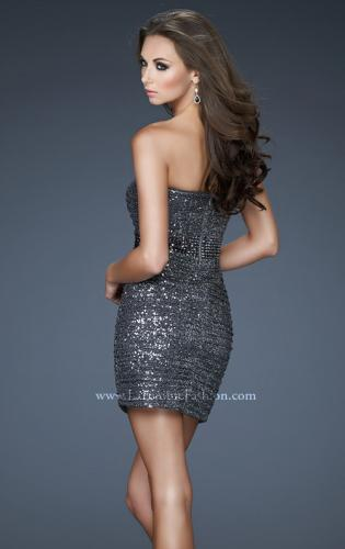 Picture of: Strapless Sequined Mini Dress with Beaded Belt, Style: 18240, Back Picture