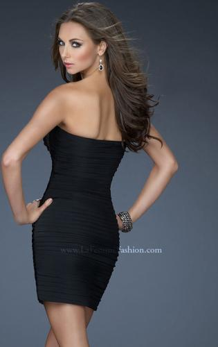 Picture of: Strapless Jersey Cocktail Dress with Ruched Body, Style: 18249, Back Picture