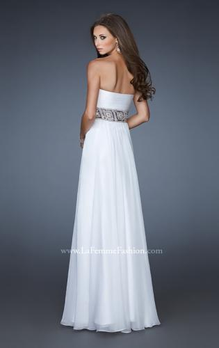 Picture of: Strapless Chiffon Gown with Beaded and Sequin Design, Style: 18420, Back Picture