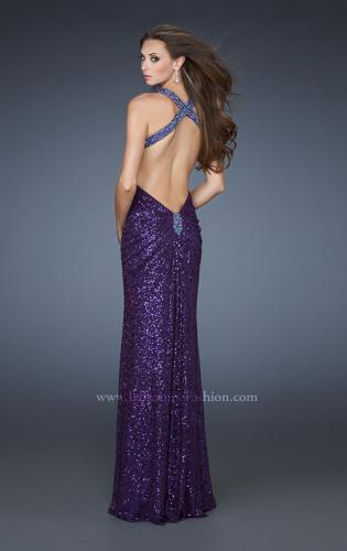 Picture of: Sequined Gown with Beaded Halter Neck and Diamond Back, Style: 18421, Main Picture