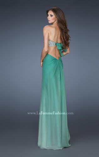 Picture of: Strapless Chiffon Dress with Beaded Bodice and Cut Outs, Style: 18429, Back Picture