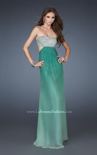 Picture of: Strapless Chiffon Dress with Beaded Bodice and Cut Outs, Style: 18429, Detail Picture 2