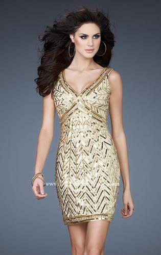 Picture of: Sequin and Beaded Cocktail Dress with V Neck Front and Back, Style: 18430, Main Picture