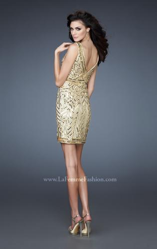 Picture of: Sequin and Beaded Cocktail Dress with V Neck Front and Back, Style: 18430, Back Picture