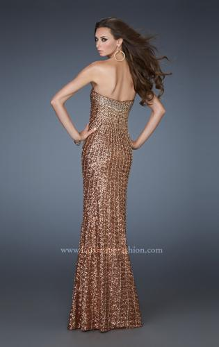 Picture of: Sequined Prom Gown with Rhinestone Bodice and Beads, Style: 18431, Back Picture