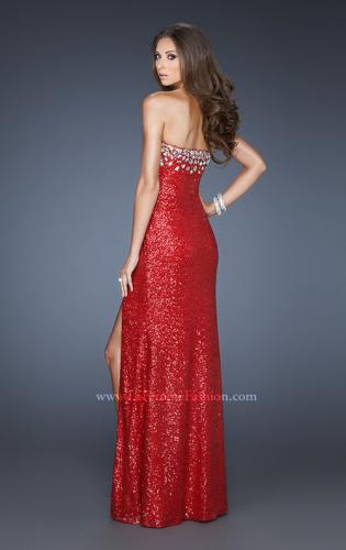 Picture of: Sexy Sequin Dress with Slit and Plunging Neckline, Style: 18456, Back Picture