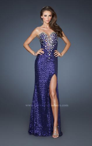 Picture of: Sexy Sequin Dress with Slit and Plunging Neckline, Style: 18456, Detail Picture 1