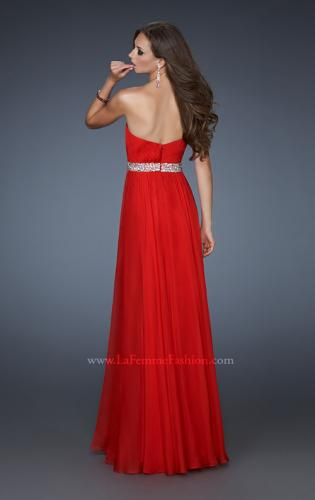 Picture of: Pleated Bodice Long A-line Prom Dress with Rhinestones, Style: 18457, Back Picture