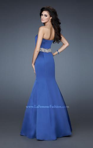 Picture of: Stretch Satin Mermaid Gown with Beaded Waist Detail, Style: 18460, Main Picture
