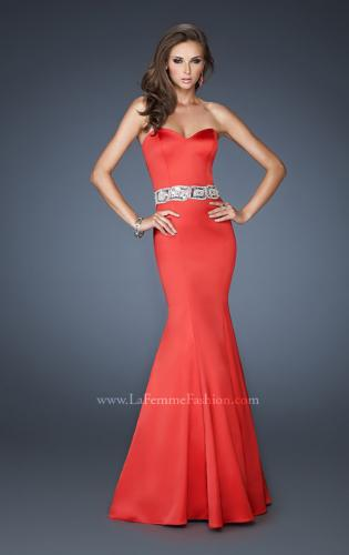 Picture of: Stretch Satin Mermaid Gown with Beaded Waist Detail, Style: 18460, Back Picture